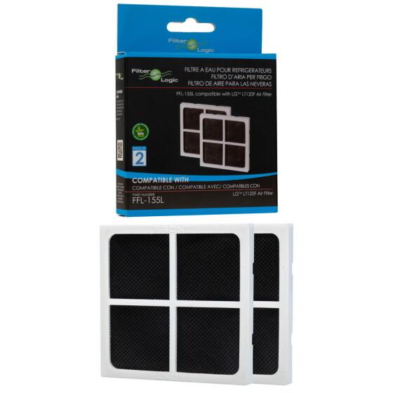 2er Pack FilterLogic FFL-155L ersetzt LG LT120F / ADQ73214408 Luftfilter für Kühlschränke