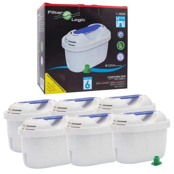 FilterLogic FL402H   6er-Pack   Wasserfilter für Boston Tech Fresia Wasserspender und Iris Filterkanne kompatibel mit Hydro Pure +